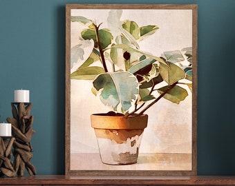 Abstract Plant Printable Wall Art Botanical Plant Modern Potted Plant Leaf Art Downloadable Instant Art Print Minimalist Art Neutral Art