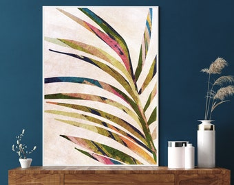 Neutral Boho Abstract Botanical Palm Art Printable Floral Tropical Palm Tree Leaf Plant Digital Download Instant Wall Art Minimalist Print