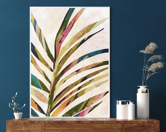 Boho Wall Art Neutral Abstract Botanical Palm Tree Branch Art Printable Tropical Leaf Plant Digital Download Art Wall Art Minimalist Print