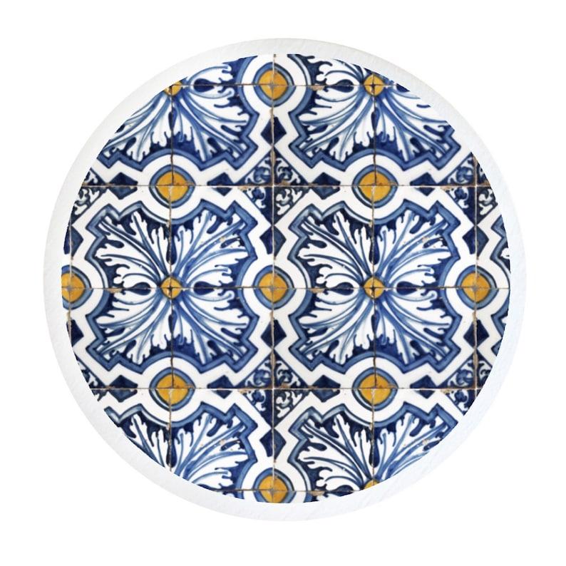 Drawer Knobs Decorative Knobs Dresser Knobs Neutral Knobs Kitchen Knobs Portugese Tile Knobs Blue Knobs Drawer Pulls Cabinet Knobs Furniture