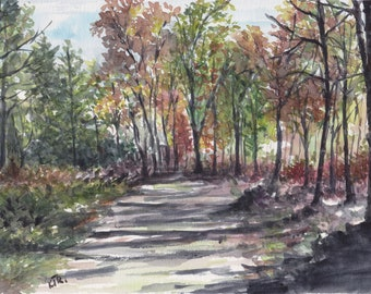 Original watercolor - walk in the forest - handmade - unique