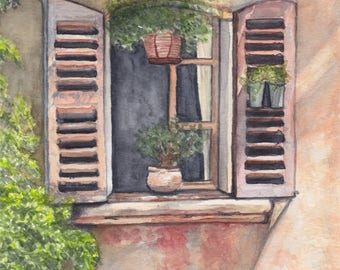Original watercolor painting captures a window in Provence - France