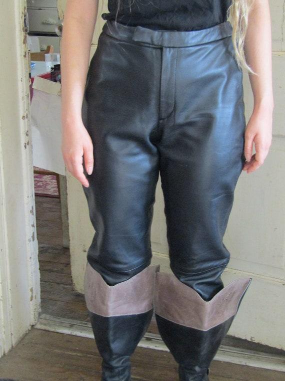 Black Leather Pants Sz. 8, Extra Long Leather Pant