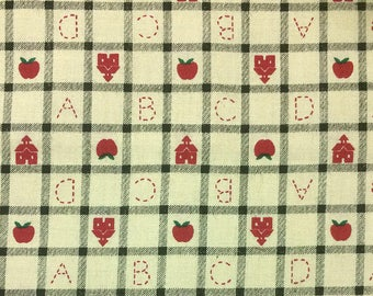 Red ABCD on Tan - Cotton fabric - 1/2 yard