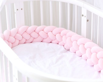 Color : #1, Size : 1m Yezi Bumpers Handmade Braided Cot Bumper Baby Head Guard Bumper Knot Braid Pillow Cushion Decorative Pillow for Baby Nursery Crib Bedding