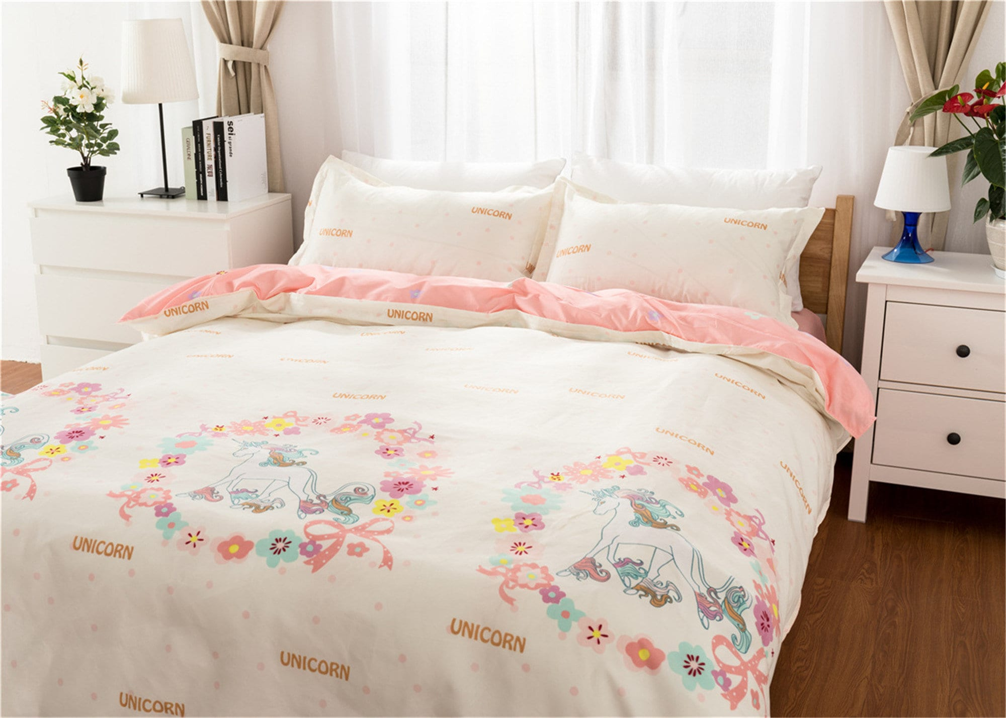Duvet Cover Set Unicorn Bedding Set Girls Cute Bed Set Microfiber Duvet Cover Pillowcase Soft Breathable