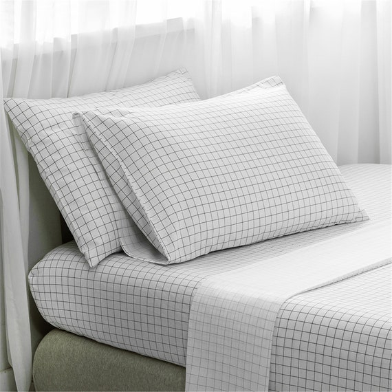 Cotton Bed Sheet Set Geometric Black White Lattice Bed Sheet Etsy