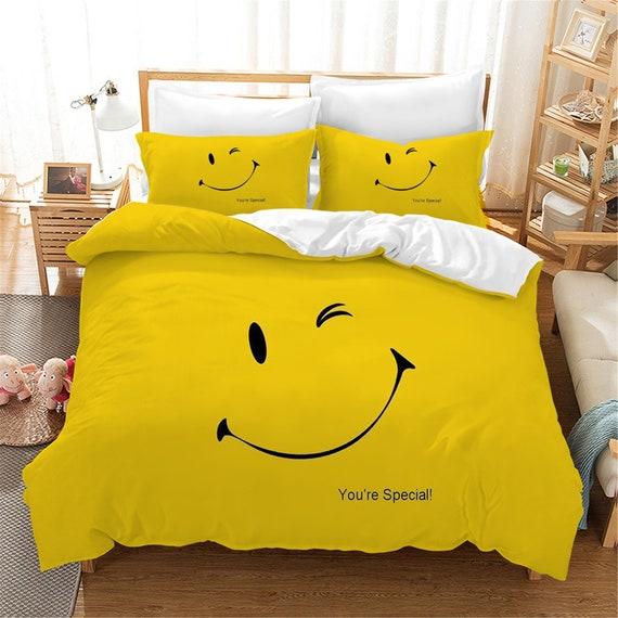 New Christmas Special Smiley Face Emoji Duvet Quilt Cover Bedding Set Pillow Cas