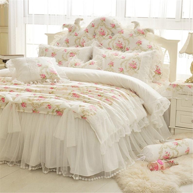 White Floral Duvet Cover Set Cotton Bedding Set Lace Bow ...