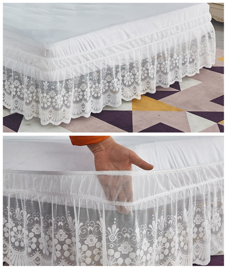 White Lace Stretch Bed Skirt Elastic Wrap Around Elastic ...