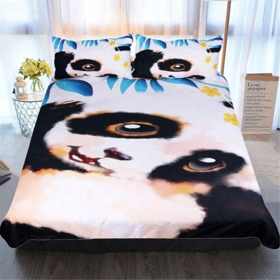 Panda Duvet Quilt Cover Set Pillowcase Kid Bedding Set Animal Single Double King