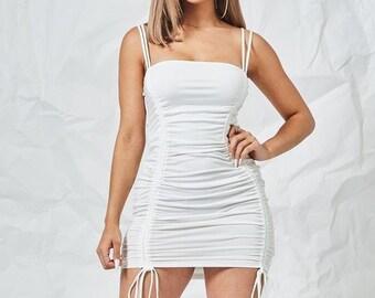 0b217282ab Ladies White Ruched Mini Dress