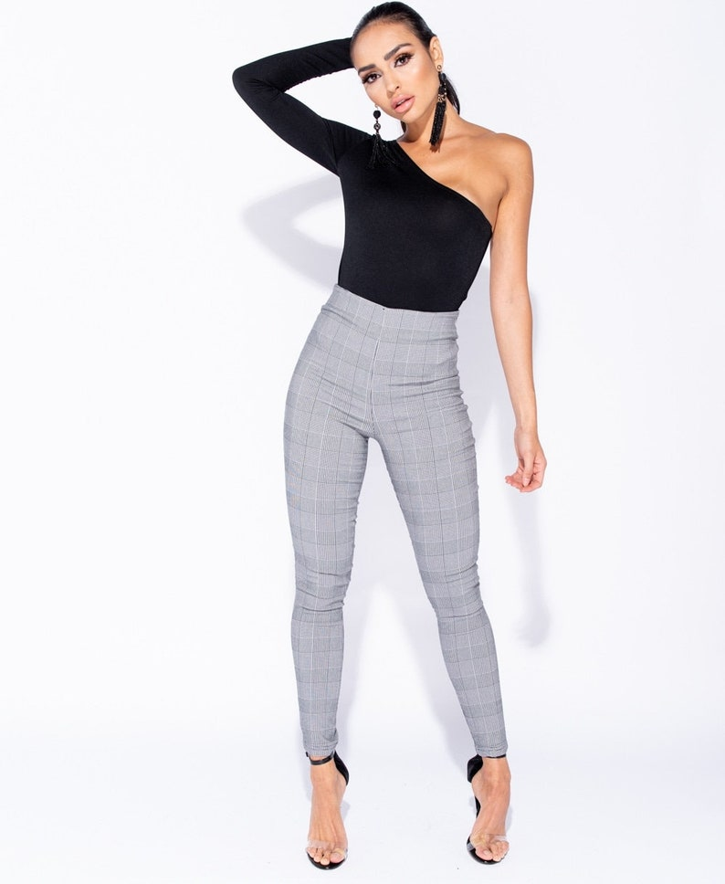 6e66003db46a Checked Print High Rise Skinny Jeggings High Waisted Pants