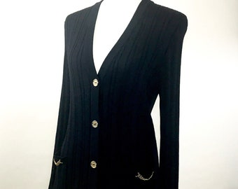 CELINE 1970s 100% Wool Ribbed Cardigan * French Size 46/US 14