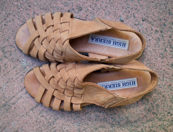 Leather Woven Slingback Sandals/ Tan
