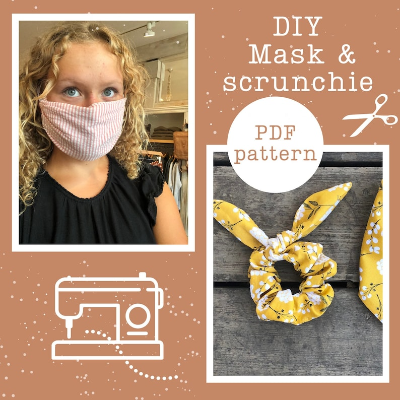 Face mask and matching Scrunchie bow pattern PDF sewing DIY image 0