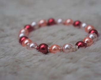 Red and Peach beaded bracelet