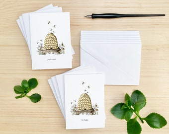 Set of 8 Cards, Beehive and Wildflowers Stationery Note Cards, Matching Envelopes Included