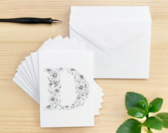 Set of 8 Cards, Floral Letter D Daisy Stationery Note Cards, Matching Envelopes Included