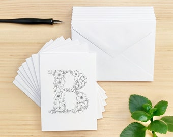 Set of 8 Cards, Floral Letter B Buttercup Stationery Note Cards, Matching Envelopes Included