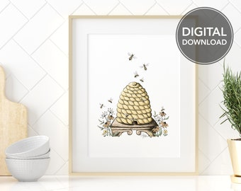 Beehive and Wildflowers Printable Wall Art, Instant Digital Download, Honey Bees Illustration