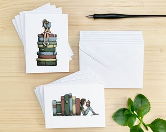 Set of 8 Cards, Girl Reading with Giant Books Stationery Note Cards, Matching Envelopes Included