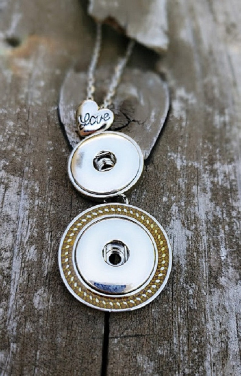 Silver Charm Necklace Gingersnap Style Charm Necklace Two Tone Snap Necklace -Double Snap Necklace Snap Jewelry Snap Necklace
