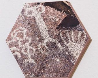 Hexagonal Canvas Petroglyph Print