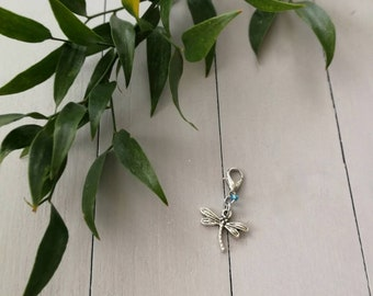 Progress Keeper. Dragonfly Charm. Zipper Pull. Stitch Marker. Work in Progress. Knitting Marker. Crochet Marker. Removable Marker.
