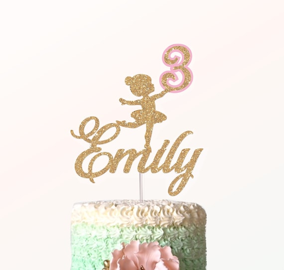 Brilliant Ballerina Birthday Cake Topper With Name Any Name Any Age Etsy Personalised Birthday Cards Epsylily Jamesorg