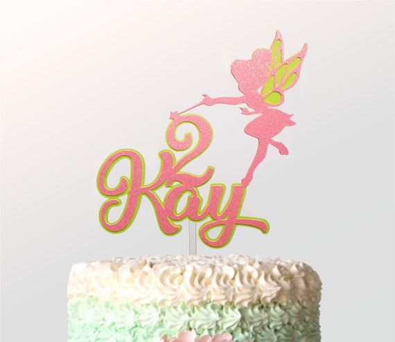 Stupendous Tinkerbell Birthday Cake Topper With Any Name And Age Glitter Etsy Funny Birthday Cards Online Alyptdamsfinfo