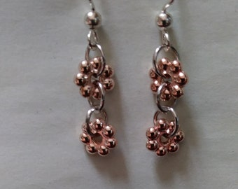 Copper Floral Dangle Earrings