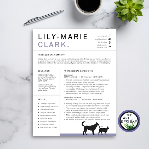 Veterinarian Resume Vet Grad Resume Template For Pages Etsy