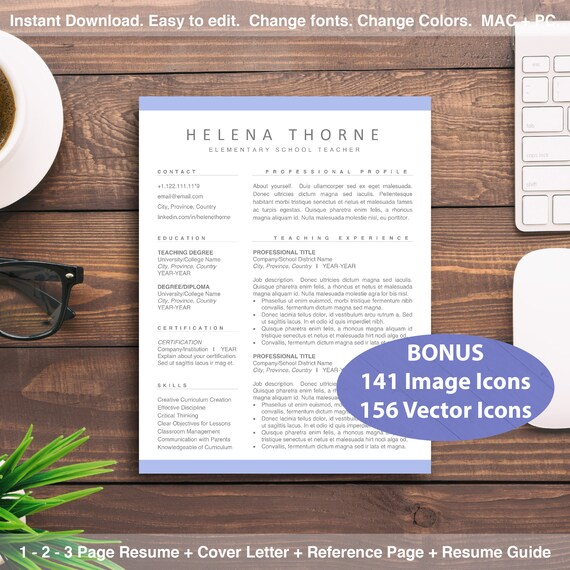 Istant Principal Cover Letter | Teaching Resume Bundle 1 2 3 Page Cv Templates For Teachers Etsy