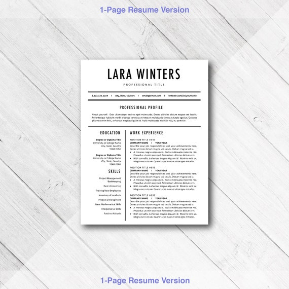 Resume Template Word CV BEST Templates Professional Modern | Etsy