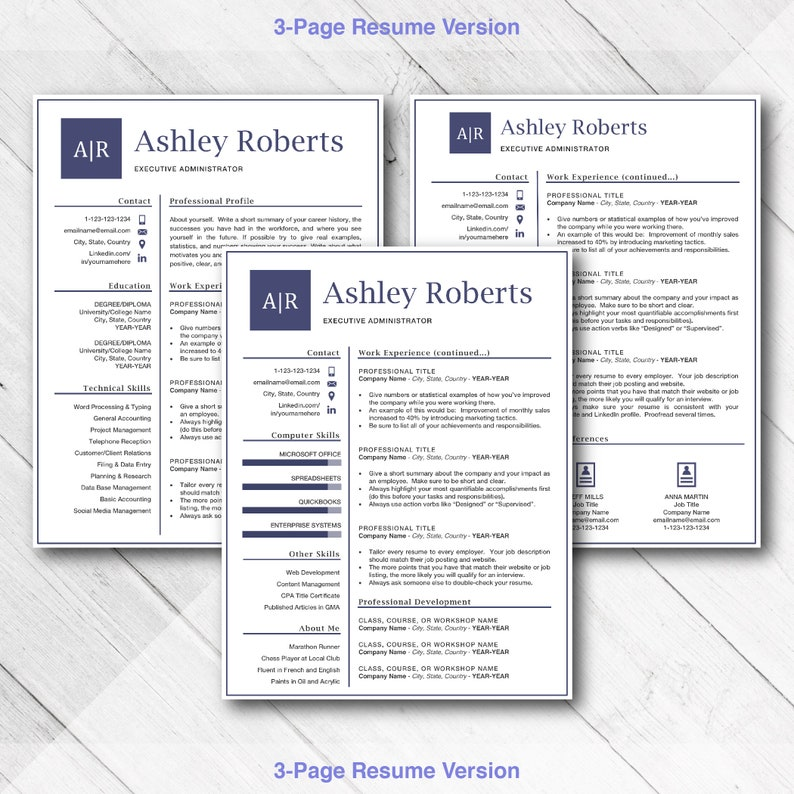 Professional Resume for Word & Mac Pages , Clean Resume Templates, Download  CV Cover Letter, Resume Administrator Office Manager