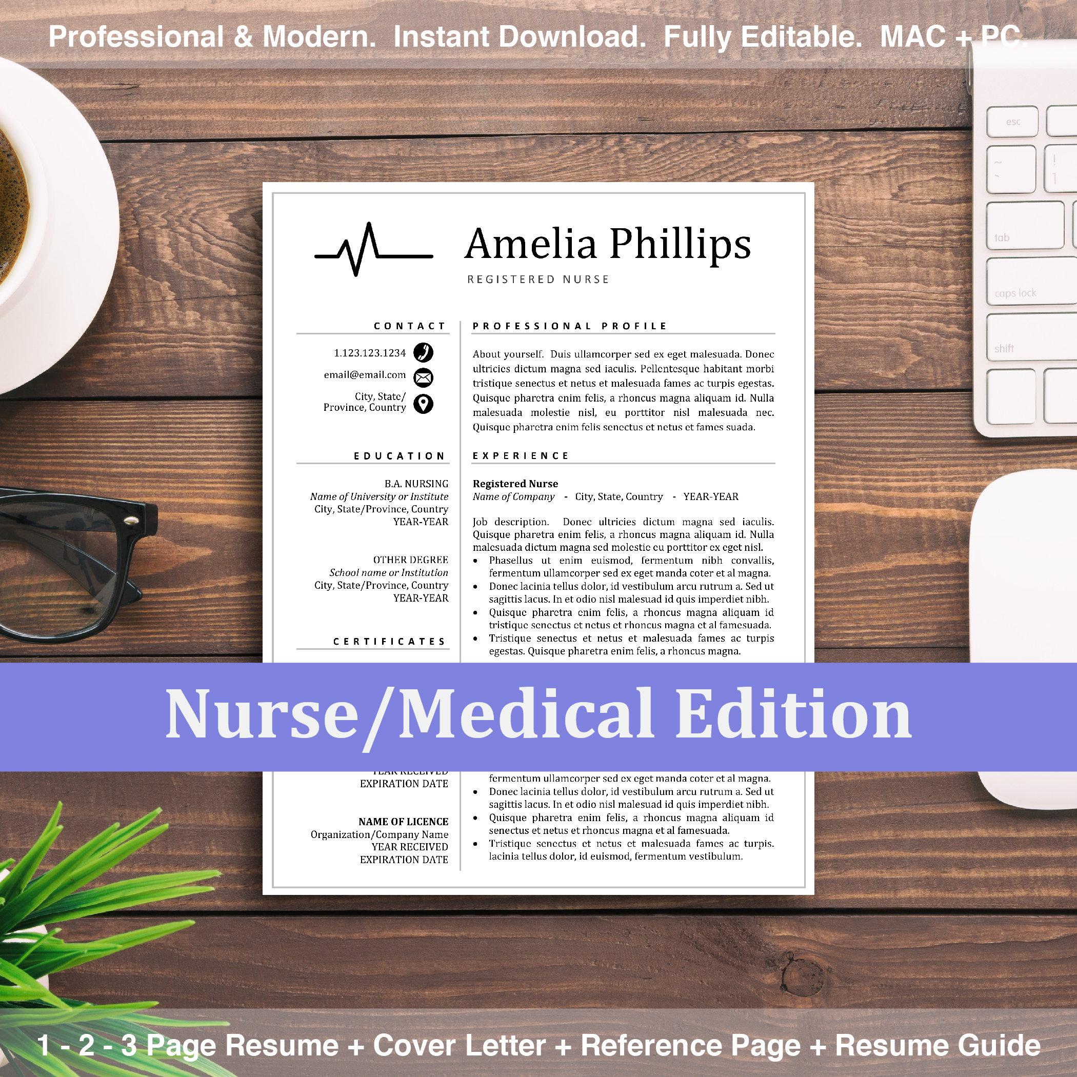 Nurse Resume CV Template Design for MS Word and Mac Pages, Registered RN  Resumes Instant Download, Healthcare Doctor Emt Nursing Resumes
