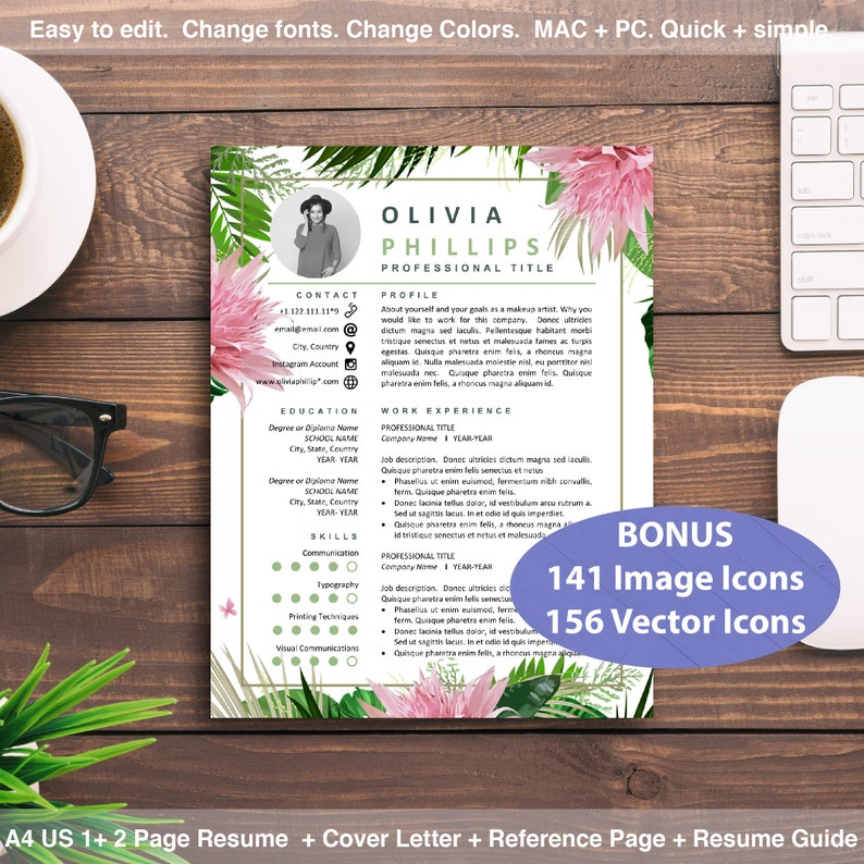Floral Resume Template Instant Download Creative