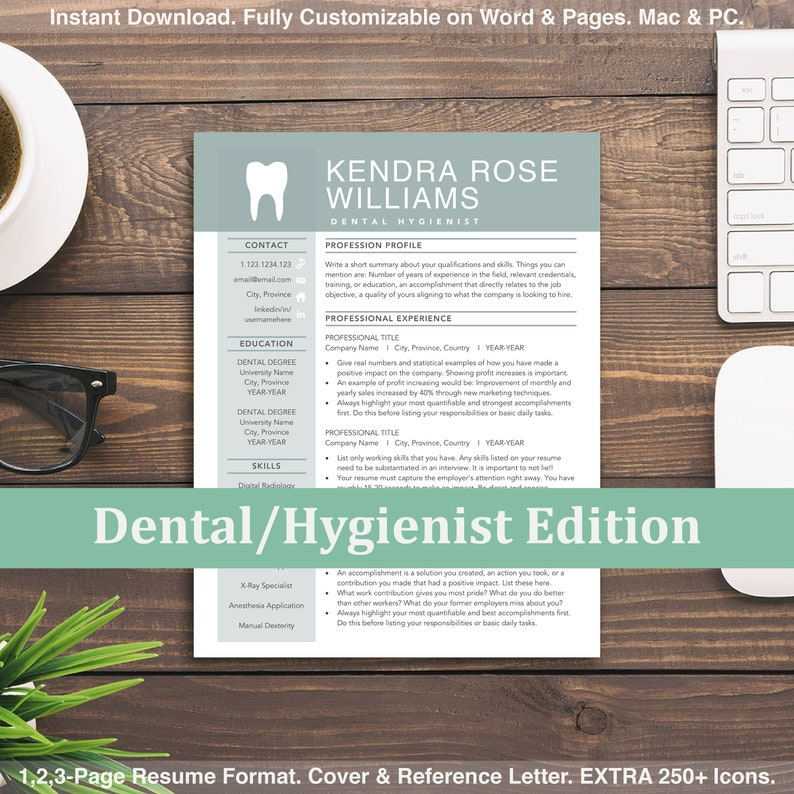 Student Resume Templates Dental Graduate Fresher Resume Dentist Hygienist Dental Resume Word /& Mac Pages Dental Assistant CV Template
