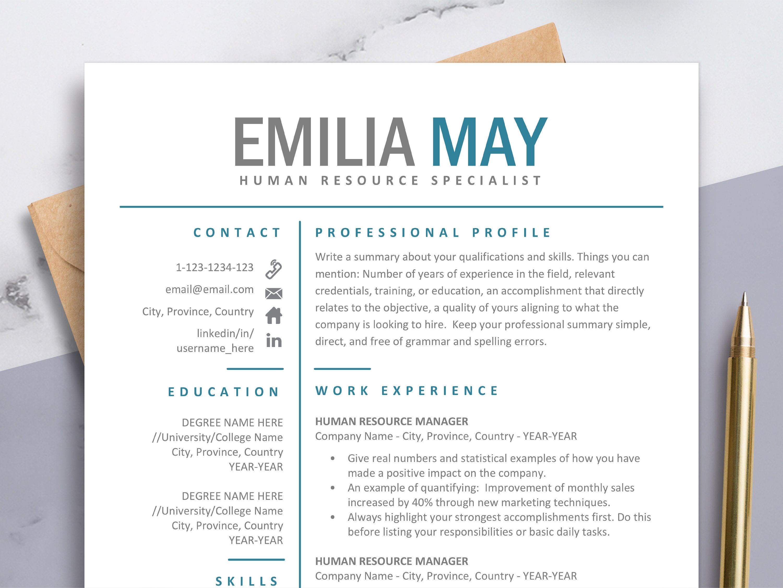 Simple Resume Cv Template Student Resume Cover Letter Best Etsy