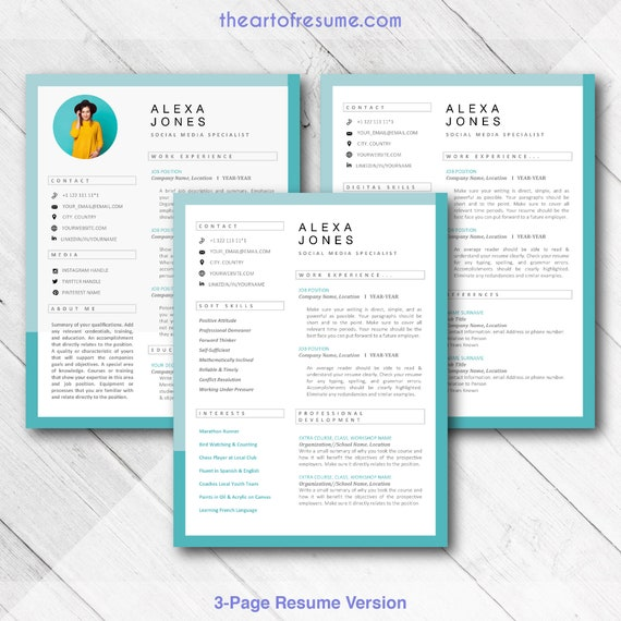 Creative CV Resume Templates with Photo for Word Pages / Mac & PC / Custom  Resume Bundle for Social Media, Blogger, Fashion, Artist, Design