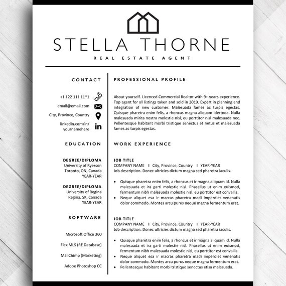 Realtor Resume CV Template, Real Estate Agent CV Resume Design Templates  for Word, Resumes for Home Developer, Resume Bundle + Cover Letter