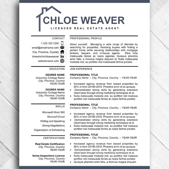 Realtor Resume Template, Real Estate Agent CV Resumes Template for Word,  Resume for Home Developer, Resume Design Bundle with Cover Letter