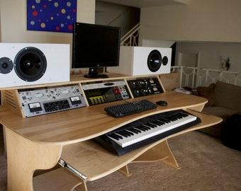 Recording Studio Desk 12RU workstation cabinet grade birch plywood with Keyboard Shelf
