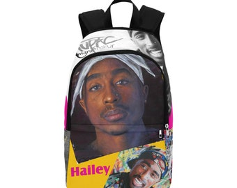 2PAC Shakur - FREE CUSTOMIZATION, Fabric Backpack, hip-hop, rap, unique, backpack, school, bag, Pac, music, Black Owned, 90's music, vintage