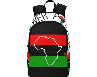 African Custom Fabric Backpack, Black Power, I love being Black, BLM, Black Lives Matter, School, Bag, College,  Red Black Green, Flag