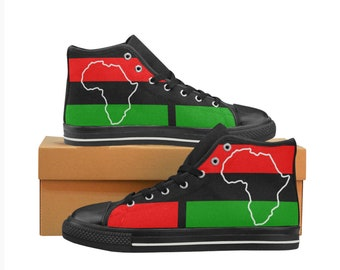 African Pride, Sizing for Kids & Adults available. Classic Canvas High Top Sneakers, matching sneakers, perfect for family photos or events