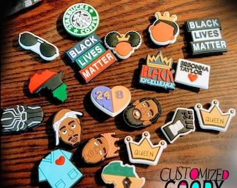 Black Lives Matter, Black Pride, Shoe, Charms, Purse accessory, Unique, Melanin, Black Owned, Kobe, Nipsey, 2Pac, Biggie, Africa, Breonna