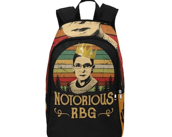 Notorious, RBG, Ruth Bader Ginsburg Fabric Backpack, Bag, Unique, Gift, School, Supreme Court, Justice, Girl, Power, Legend, Personalization