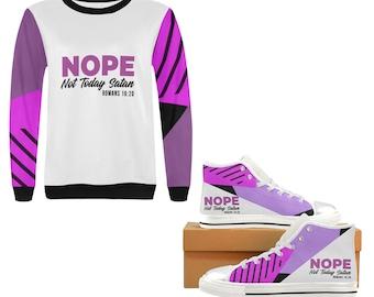 Crew Neck Sweatshirt, Sneakers, Religious, Spiritual, positive inspiration, Not today Satan, scripture, gift